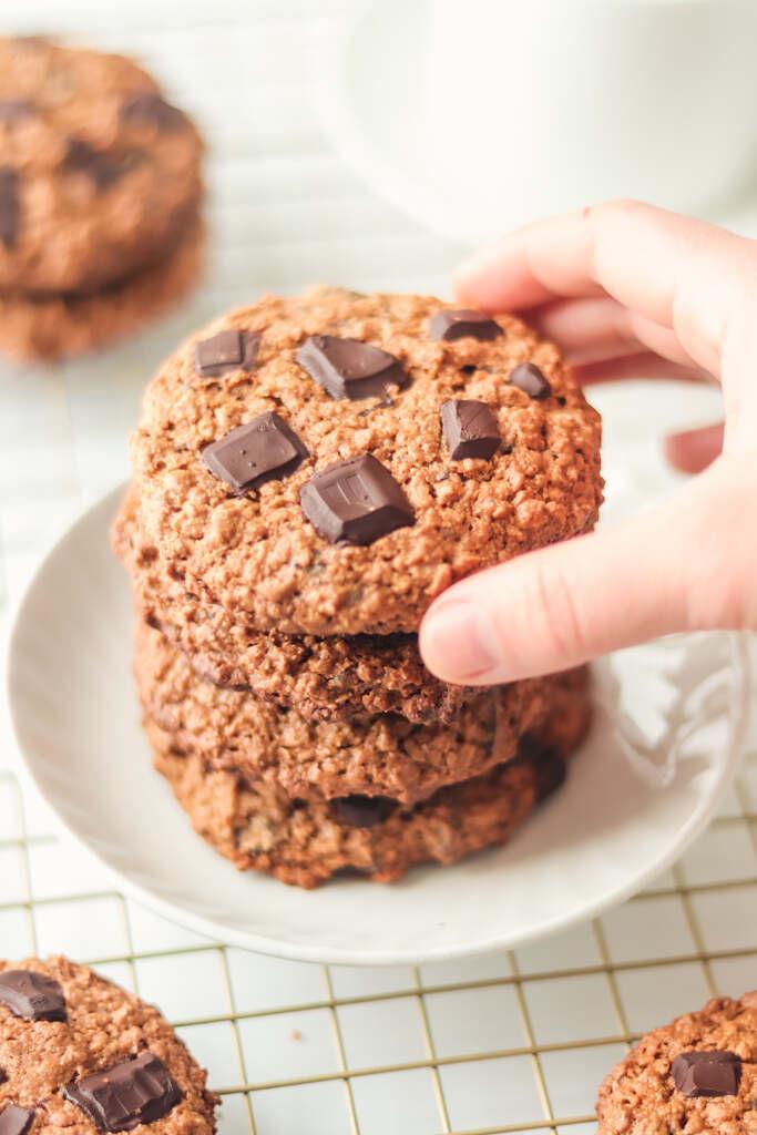 Vegan Oatmeal Cookies with Chocolate Chunks